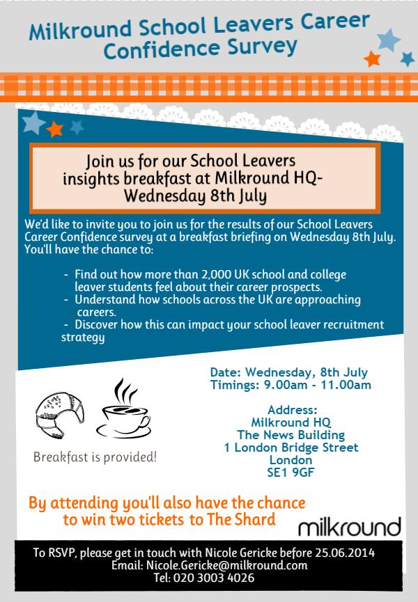 You're invited to our School Leavers breakfast briefing- 8thJuly