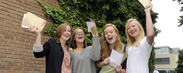 Alevel results day, Lady Margarets school, Fulham. 18.8.11 LtoR Ruth Neligan, Anneke Hanegraaf, Laura Taylor and Isabel Fletcher celebrate their results.